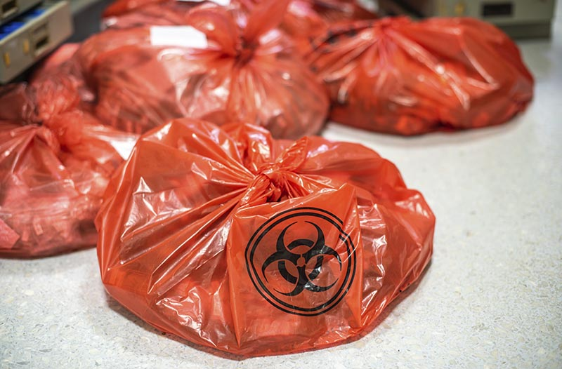 Infected rubbish bags in the hospital for destruction